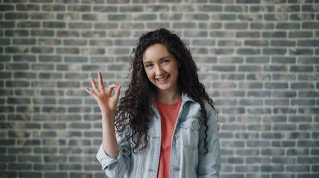 értékelés : Portrait of glad young lady showing OK hand gesture smiling looking at camera standing against brick wall background. Millennials and evaluation concept.