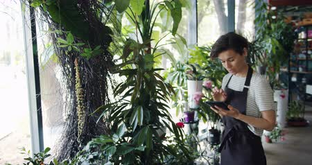 floriculture : Owner of flower store attractive young woman in apron is counting plants and using tablet to write down information. Modern technology and small business concept. Stock Footage