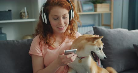 shiba inu : Beautiful woman in headphones is listening to music and petting pedigree dog sitting on couch enjoying song. Happiness, animals and youth culture concept.