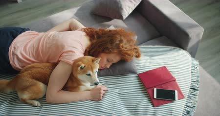 shiba inu : Attractive young woman sleeping at home on sofa hugging cute shiba inu dog napping during day together. People, lifestyle and domestic animals concept.