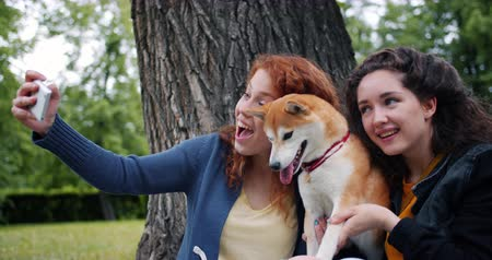 shiba inu : Slow motion of students joyful girls taking selfie with adorable puppy in park using smartphone camera having fun together. People, youth and animals concept.