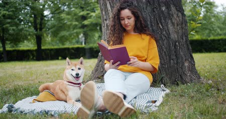 shiba inu : Pretty curly-haired girl young student is reading book sitting in park on lawn while her well-bred dog is lying near her on blanket. People and lifestyle concept. Stock Footage