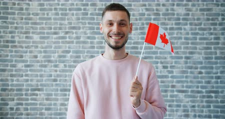 canadense : Portrait of cheerful student holding Canadian flag on brick wall background standing alone smiling looking at camera. Patriots, people and nations concept. Stock Footage