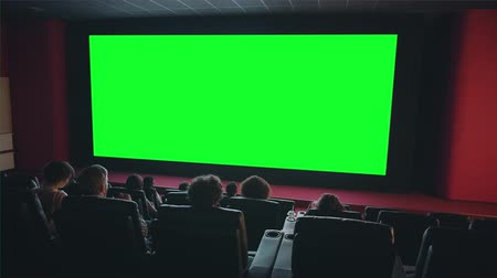 diváků : People audience are looking at big green chroma key screen in cinema enjoying film indoors in dark room. Entertainment, leisure and modern technology aoncept. Dostupné videozáznamy