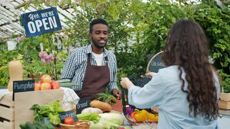 retailing : Friendly African American man salesman is selling bread and cabbage to customer in market while woman is choosing organic fresh food. Healthy lifestyle and business concept. Stock Footage