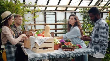 retailing : Young happy couple African American man and Caucasian woman are buying organic food in farm market in greenhouse talking to farmers writing in notebook. Stock Footage