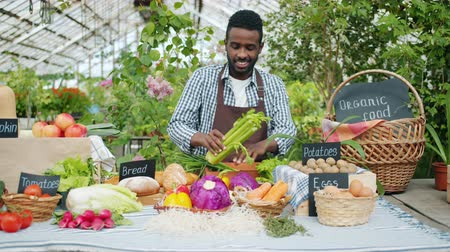 retailing : Slow motion of African American salesman putting fresh organic vegetables on table at farm sale in greenhouse. Farming, small business and healthy food concept.
