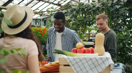 buying food : Cheerful youth men ans woman are purchasing organic food in market talking to sales girl lookig at table with vegetables smiling. Healthy nutrition and business concept. Stock Footage