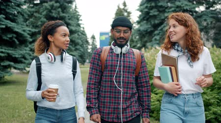 mates : Group of mates students walking outdoors on campus with books and coffee chatting discussing college life. Modern lifestyle, people and education concept. Stock Footage
