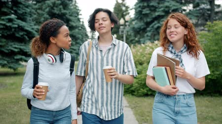 mates : Group of teenagers Caucasian and African American are walking outdoors with books and to go coffee talking gesturing. People, lifestyle and friendship concept. Stock Footage