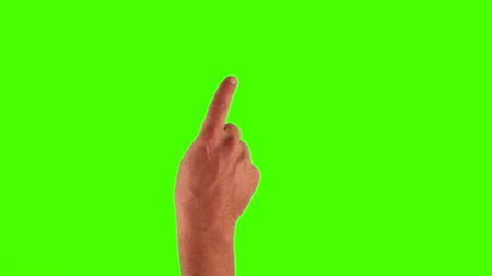 kezek : Set of 14 hand gestures, showing the uses of computer touchscreen, tablet or trackpad. Full HD with green screen. modern technology Stock mozgókép
