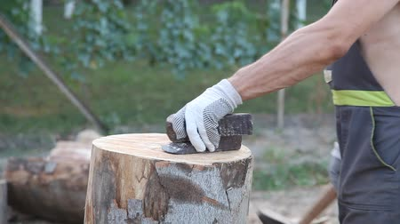 lenha : Chopping wood with wedge and hammer Vídeos