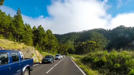 el teide : crossing car in opposite direction on mountain road Stock Footage