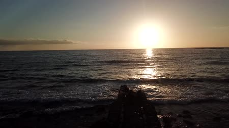 sörf : gold sunset on atlantic ocean with elderly woman Stok Video
