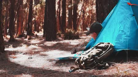 el teide : Senior couple of sports people camping in the forest