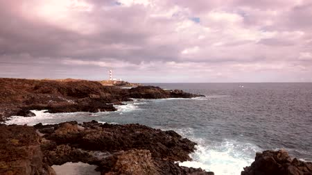kanarya adaları : Seascape of lighthouse along the coast of Tenerife