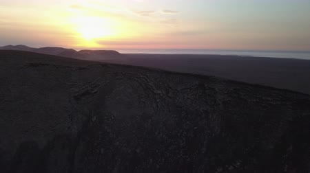 microstock : aerial view of a volcano at sunset Stock Footage