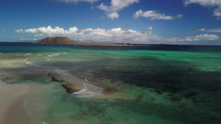 microstock : aerial view of beach and reef - corralejo fuerteventura canary islands Stock Footage