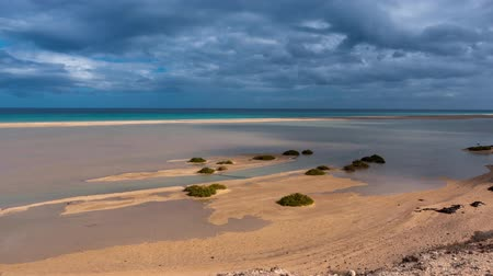 fuerteventura : lagoon sotavento, rising tide and movement of clouds, time-lapse hyper lapse, Fuerteventura Canary Islands