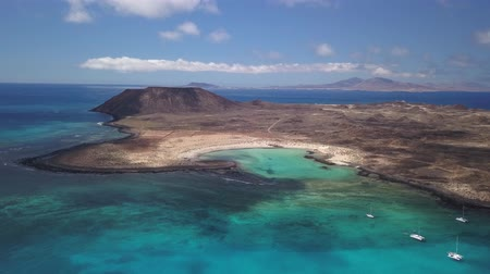 deserted : aerial view lagoon of lobos island, fuerteventura, canary islands