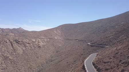 fuerteventura : aerial view of a winding mountain road