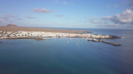 kanarya : aerial view of the port of Corralejo