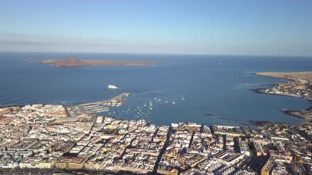 kanarya : aerial view of Corralejo and Lobos Island