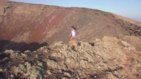fuerteventura : young girl with her dog on the top of the volcano Stock Footage