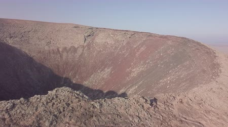 cratera : aerial view of the volcano crater, fuerteventura, canary islands