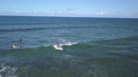 sup : surfer rides the wave with a sup, fuerteventura