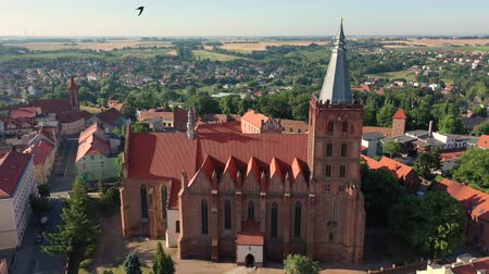 renaissance : Aerial panoramic view of a Gothic Cathedral in Europe Stock Footage