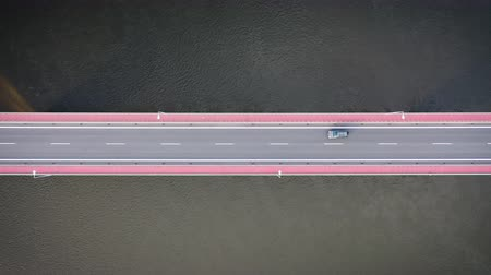 vistula : Drone view of a two lane highway on the bridge over the Vistula river