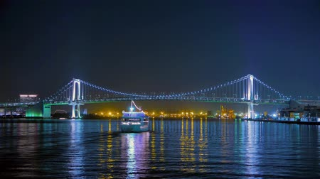 napfény : 4K Timelapse Movie - The Ship going under the bridge in Tokyo Bay region, Japan.