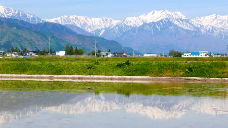 Mountains to reflect before rice planting