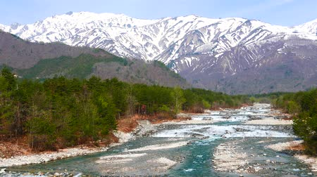 Spring view of the mountains of snow
