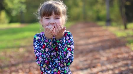 gizleme : Beautiful cute little girl laughs in sunny autumn park