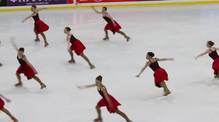 üdvözlettel : PERM, RUSSIA - DEC 28, 2016: Female team performs at the Open Cup in the synchronized skating in Sports Palace Eaglet