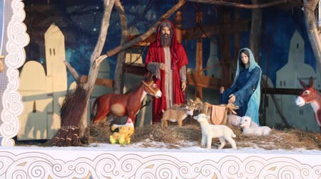 jesus born : PERM, RUSSIA - JAN 18, 2017: Depiction of Nativity of Jesus in Perm Ice Town 2017 Ekosad - largest in Russia Stock Footage