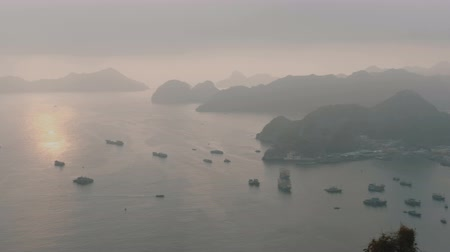 ba : Aerial view of Lan Ha Bay, Hai Phong, Vietnam. Near Ha Long bay Stock Footage