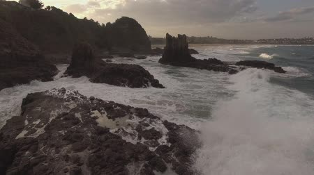 cinematic Aerial footage of the Cathedral Rocks, Kiama