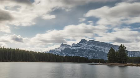 Time lapse of Two Jack Lake cloudscape, Rocky mountains (Canadian Rockies) in Banff National Park, Alberta, Canada