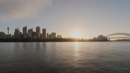 Sydney Harbor and city skyline sunset time lapse