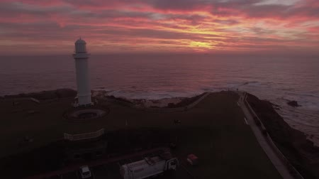 aerial footage of approaching Wollongong lighthouse