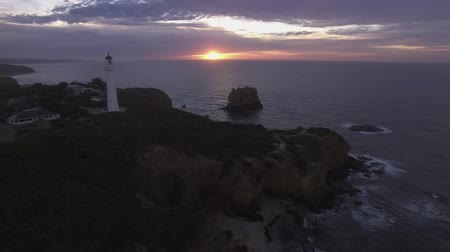 aerial footage of approaching split point lighthouse, Great Ocean Road