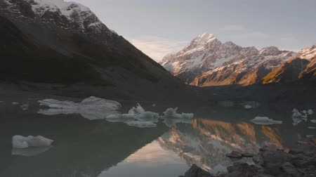 hooker : Glacier lake with ice blocks and background of Mount Cook Stock Footage