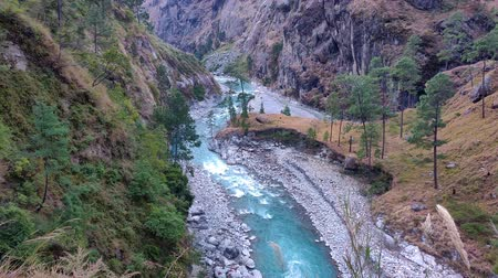 hilly : River budhi gandaki flowing between the mountains and hills in the Manaslu Conservation Area of Nepal
