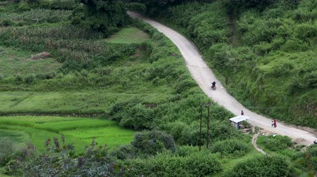 Aerial view of a motorbike riding in remote area