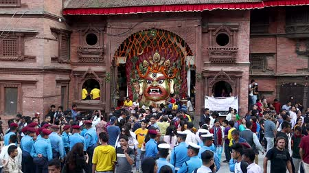 wrzesień : Kathmandu, Nepal - September 11 2019: Mask of Swet Bhairav put on display during Indra Jatra Festival in Kathmandu, Nepal