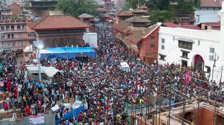 bohyně : Kathmandu, Nepal - September 13 2019: Crowd of people observing and celebrating Indra Jatra Festival at Kathmandu Durbar Sqaure.