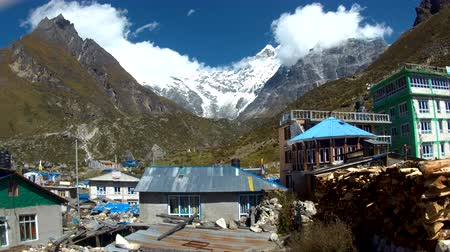 remote location : Himalayan village Kyanjin Gompa in Langtang valley Nepal Stock Footage